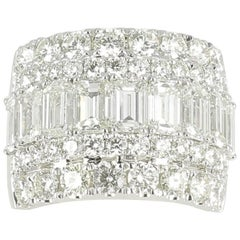 6.30 Carat Round and Emerald Cut Diamond Ring 18K White Gold Cluster/Band Rings