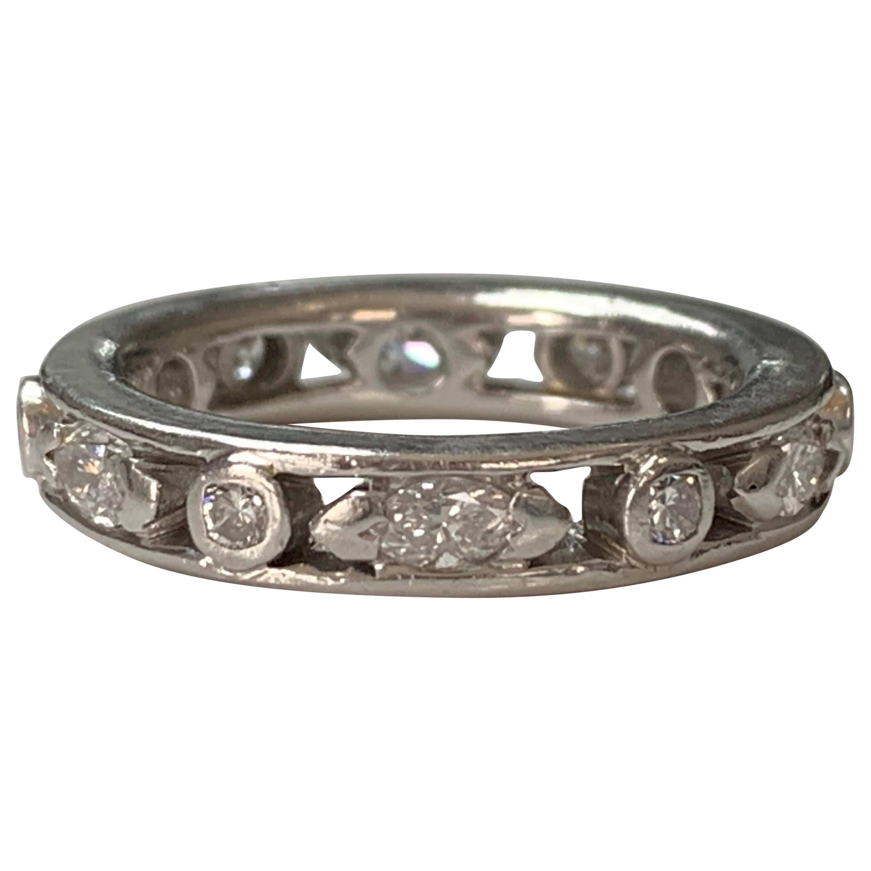 Round and Marquise Diamond Eternity Band in Platinum