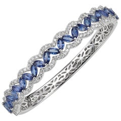Round and Marquise-Shape Sapphire Diamond 18 Karat White Gold Bracelet Bangle