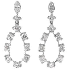 Round and Navette Cut Diamond White Gold Drop Earrings