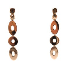 Round and Ovals Yellow Gold Drop Earrings