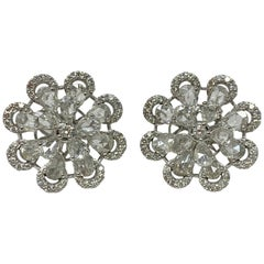 Round and Pear Shape Rose Cut Diamond Stud Earrings in 18 Karat White Gold
