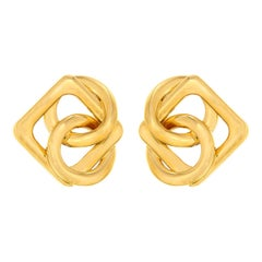 Round and Square Motif Gold Circus Earrings