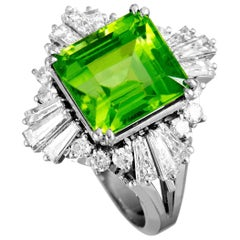 Round and Tapered Baguette Diamonds and Peridot Ring