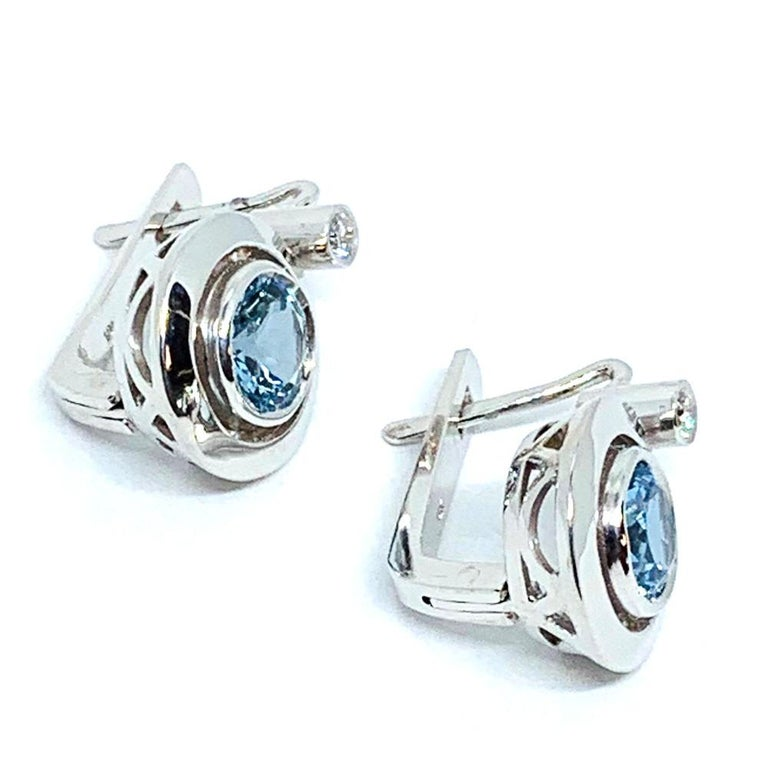 Round Aquamarines and Round White Diamonds 18 Karat White Gold Earrings For Sale 1