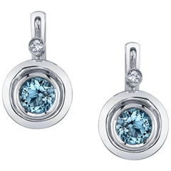 Round Aquamarines and Round White Diamonds 18 Karat White Gold Earrings