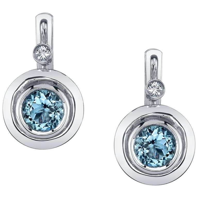 Round Aquamarines and Round White Diamonds 18 Karat White Gold Earrings For Sale