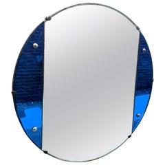 Round Art Deco Blue Glass Wall Mirror