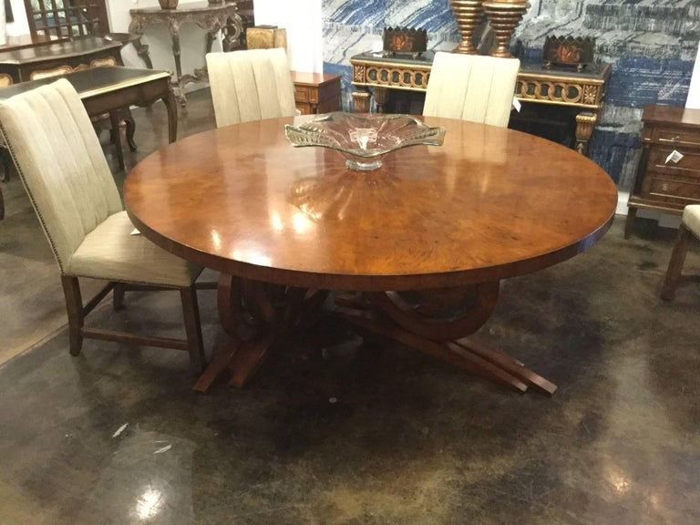 Italian Round Art Deco Dining Table In Walnut Burl Designed By Renaissance Collection For Sale