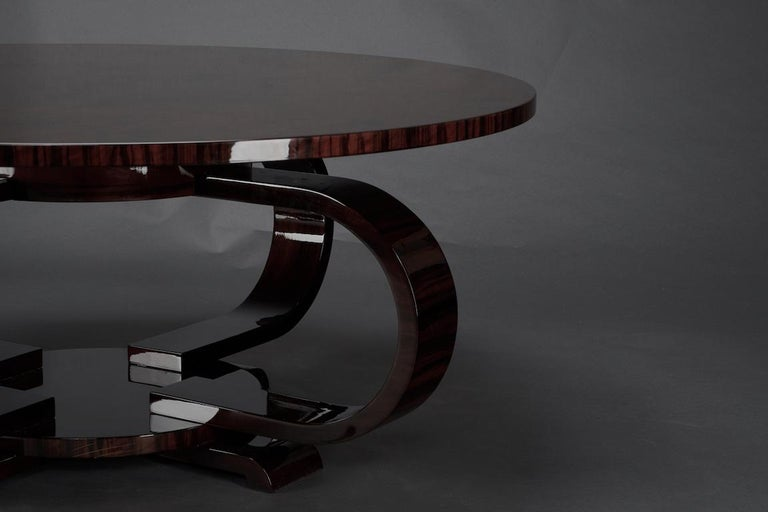 Mid-20th Century Round Art Deco French Coffee Table in Walnut For Sale