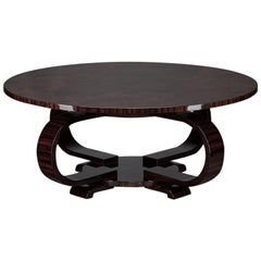 Round Art Deco French Coffee Table in Walnut