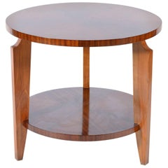 Round Art Deco French Side Table Double Shelves, 1940s