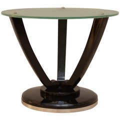 Round Art Deco Side Table, Black Polish, Frosted Glass, France, circa 1930