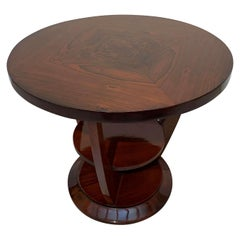 Round Art Deco Side Table, Palisander, Signed, French Polish, France, circa 1925