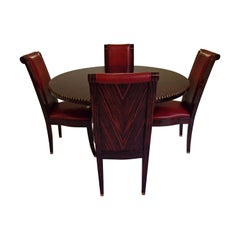 Round Art Deco Table with 4 Red Leather Chairs