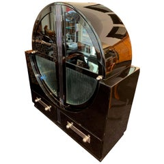 Round Art Deco Vitrine, Black Lacquer and Chromed, France, circa 1930