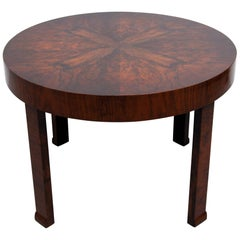 Round Art Deco Walnut Side or Coffee Table