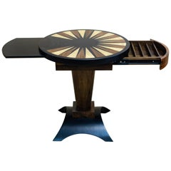 Round Backgammon Cocktail Table with Ebony and Bird's-Eye Maple Wood Inlay