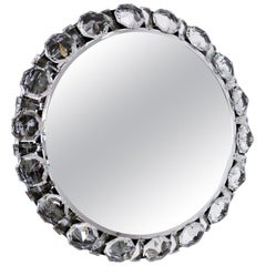 Round Backlit Wall Mirror with Chrome and Crystal Glass by Palwa, 1960s