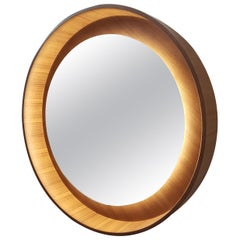 Round Backlit Wall Mirror with Led Light in Oak, Dim on Rotation
