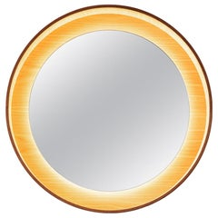 Round Backlit Wall Mirror with LED Light in Oak, Dims on Rotation