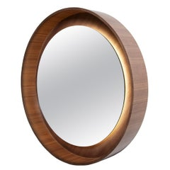 Round Backlit Wall Mirror with LED Light in Walnut