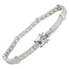 Round & Baguette Cluster Diamond Bracelet in 14K White Gold 5.40 CTW