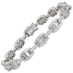 Round Baguette Diamond Link Bracelet