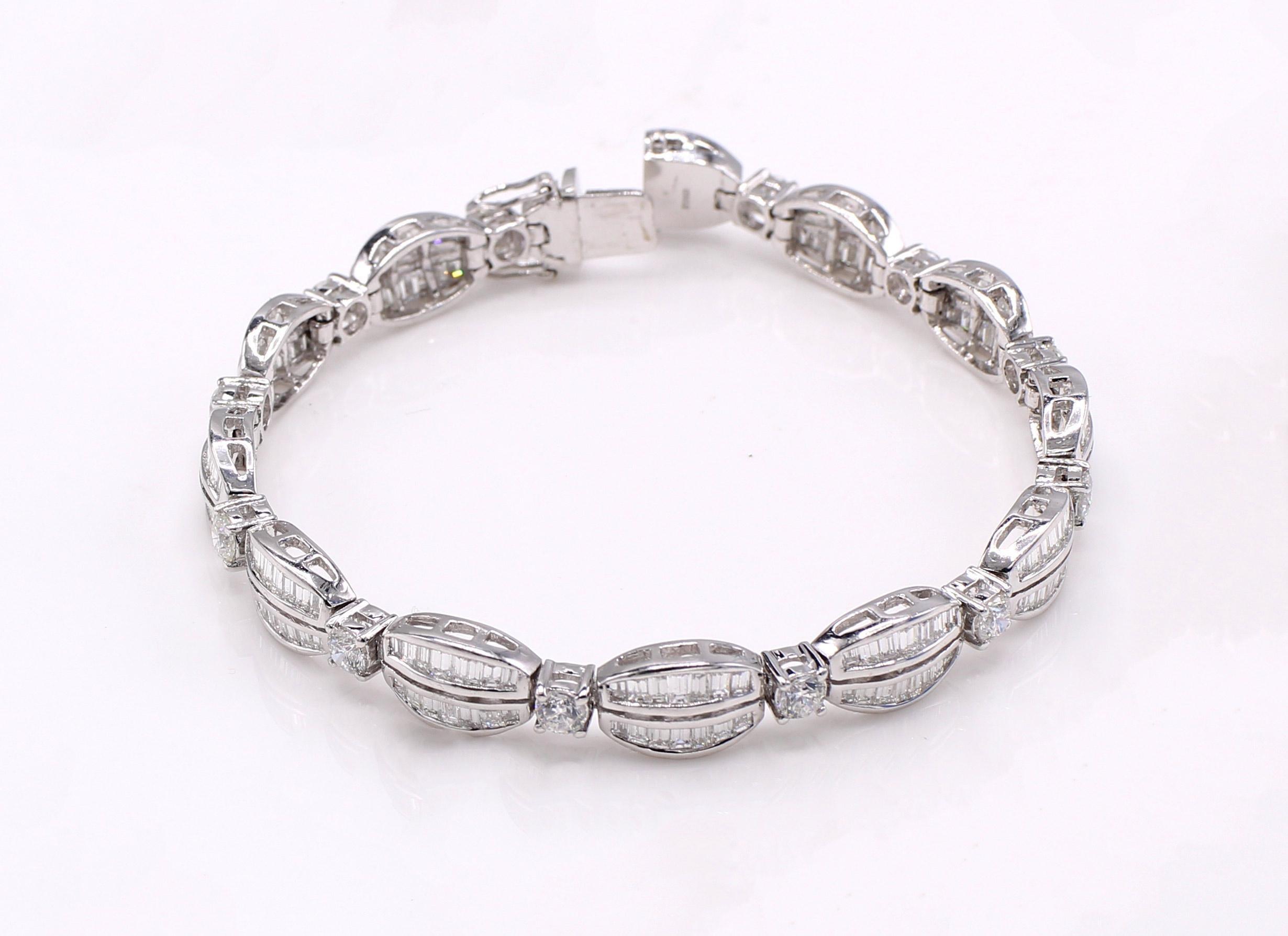 Round Baguette Diamond Platinum Bracelet