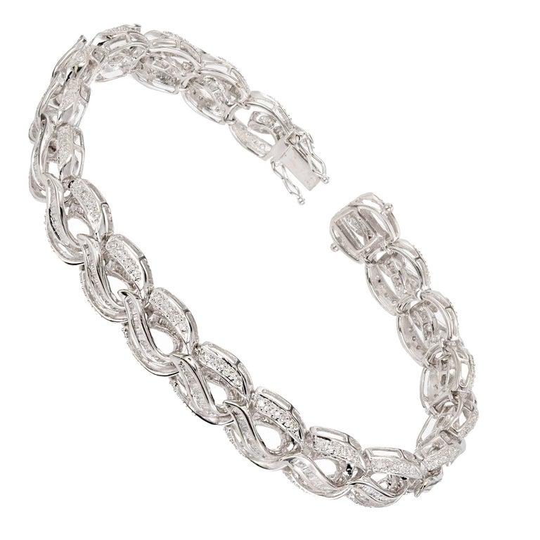 Round Baguette Diamond Swirl Link Gold Bracelet For Sale