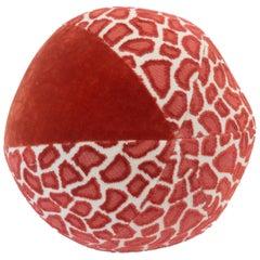 Round Ball Pillow in Leopard Print Cut Velvet