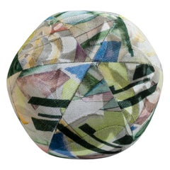 Round Ball Pillow with Colorful Abstract Woven Velvet Pattern