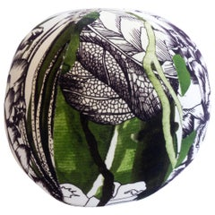 Round Ball Pillow with Palm Forest Print on Velvet