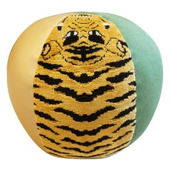 Round Ball Pillow with Velvet Tiger Fabric, Gold Vinyl and Green Cotton
