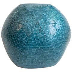 Round Ball Throw Pillow in Blue Alligator Vinyl