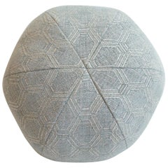 Round Ball Throw Pillow in Hexagonal Cotton Fabric