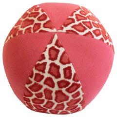 Round Ball Throw Pillow in Leopard Print Cut Velvet