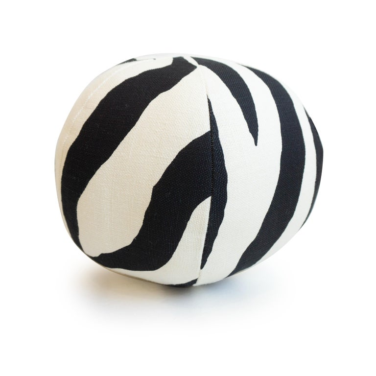 Modern Round Ball Throw Pillow in Zebra Print For Sale
