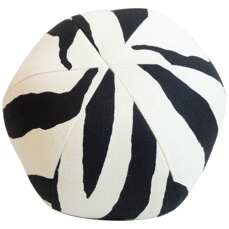 Round Ball Throw Pillow in Zebra Print For Sale