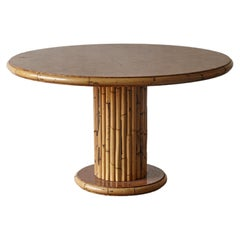 Round Bamboo and Burl Wood Dining Table, Italy, 1970s