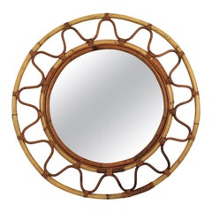Round Bamboo and Rattan Large Wall Mirror in the Style of Franco Albini