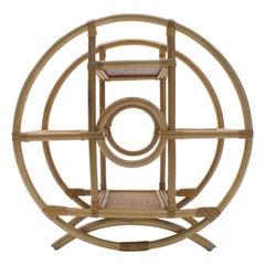 Round Bamboo and Wicker Shelf, 1970s