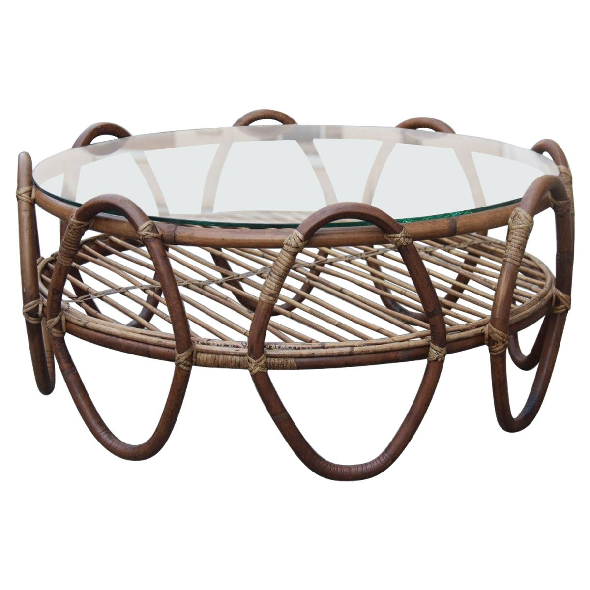 Round Bamboo  Italian Table Coffe Brown Glass Top, 1950s