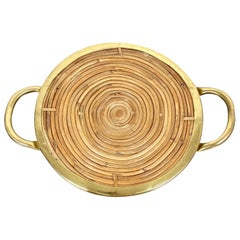 Round Bamboo Rattan and Brass Serving Tray, Italy, 1970s