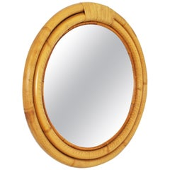 Round Bamboo Wall Mirror in the Style of Paul Frankl