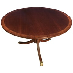 Round Banded Mahogany Georgian Style Accent Foyer Table by Leighton Hall