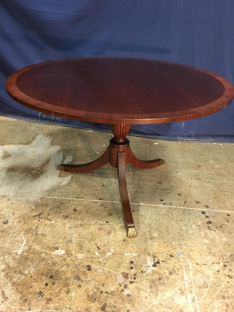 Round Banded Mahogany Georgian Style Accent Foyer Table by Leighton Hall For Sale 5