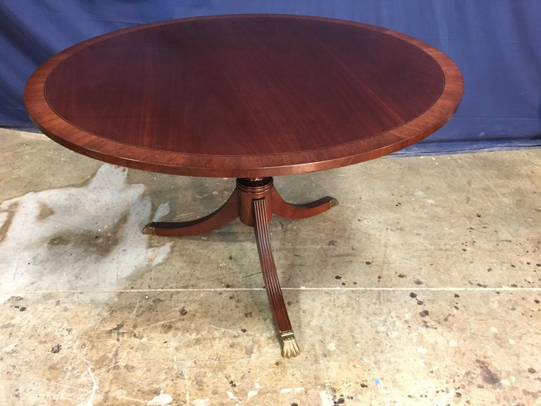 American Round Banded Mahogany Georgian Style Accent Foyer Table by Leighton Hall For Sale