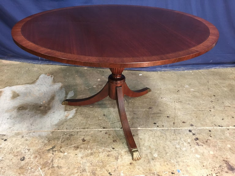 Contemporary Round Banded Mahogany Georgian Style Accent Foyer Table by Leighton Hall For Sale