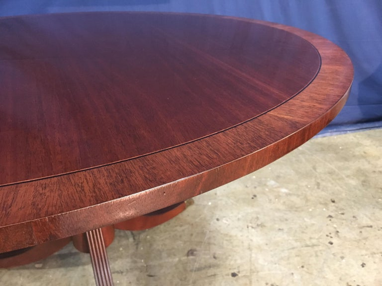 Round Banded Mahogany Georgian Style Accent Foyer Table by Leighton Hall For Sale 1